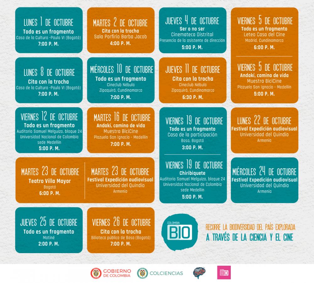 Calendario de eventos Colombia Bio